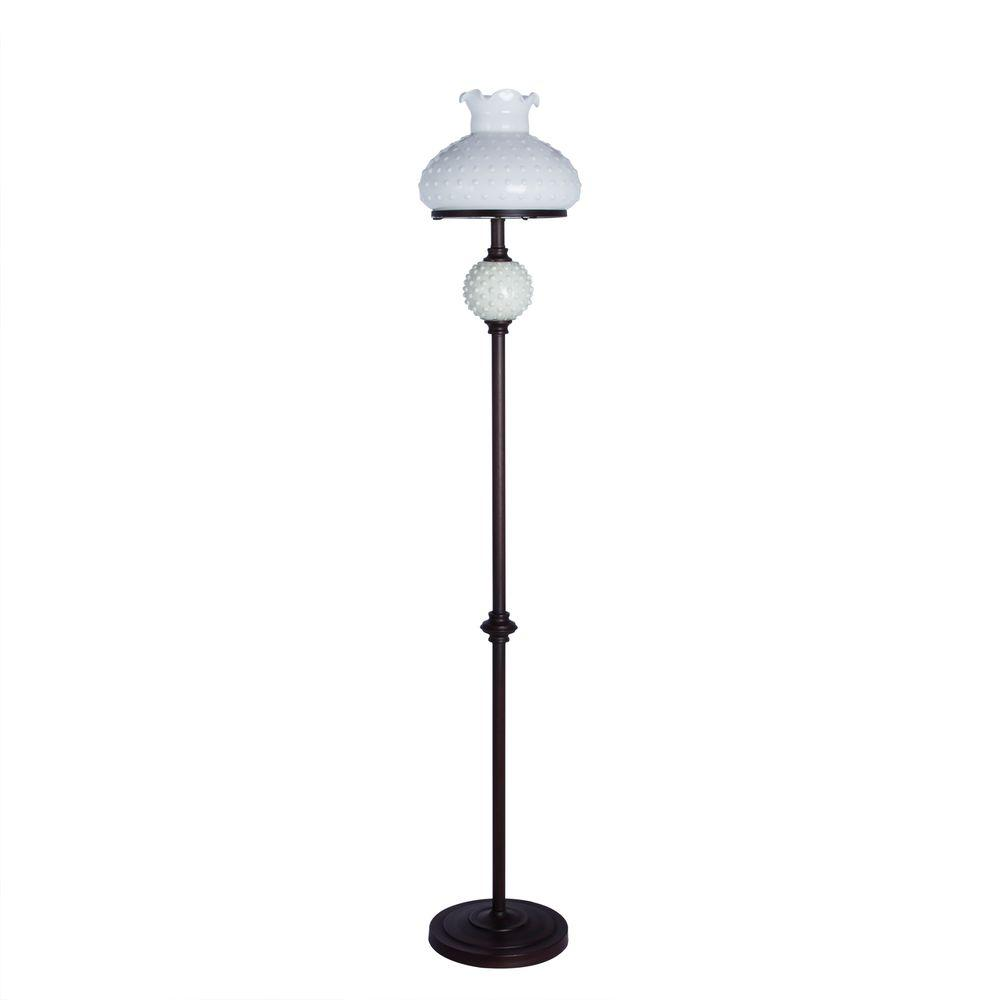 61 in. Bronze Metal Floor Lamp with White Hobnail Balls and