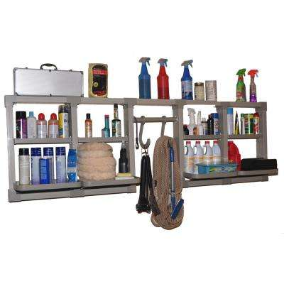 4 in. D x 24 in. H x 80 in. W Heavy Duty Pvc Versacaddy Garage Wall Shelf Kit in Gray Brackets and 8-Adjustable Shelves