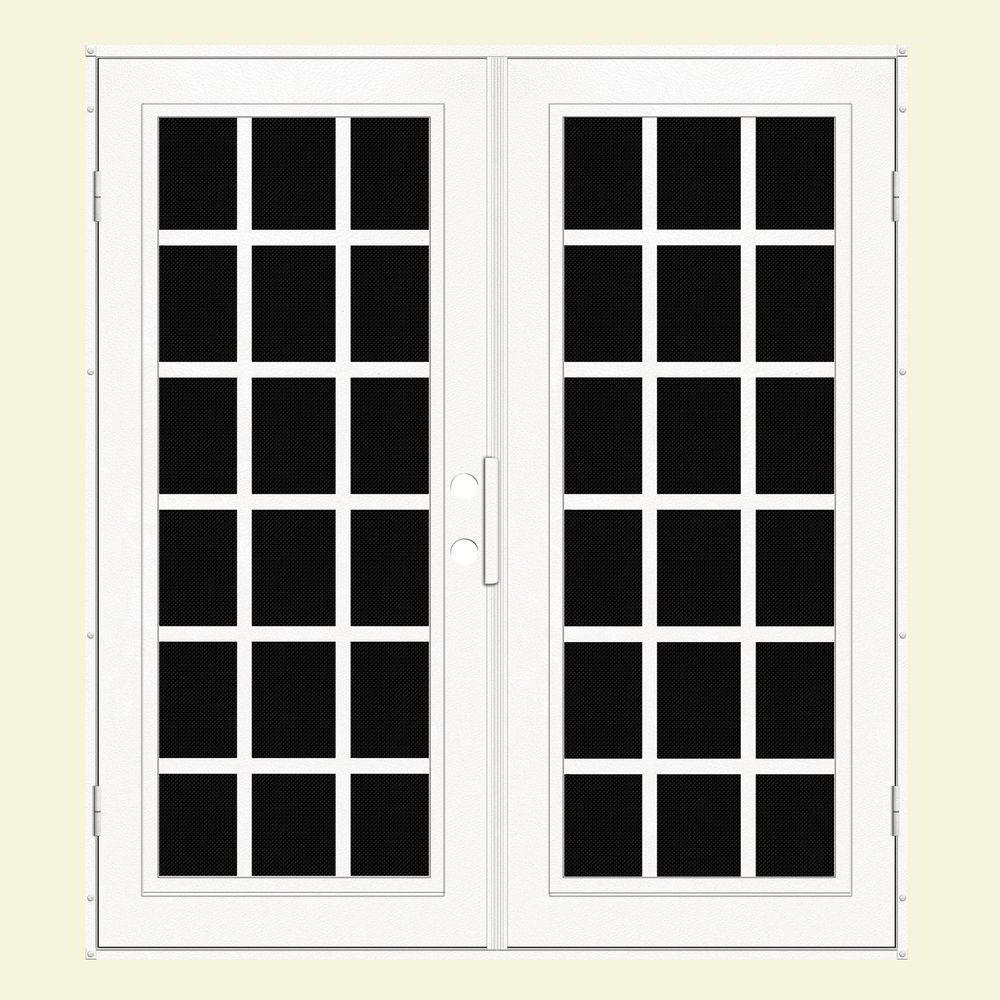 Unique Home Designs 72 in. x 80 in. Classic French White Left-Hand Recessed Mount Aluminum Security Door with Black Perforated Screen