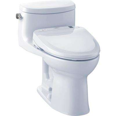 Supreme II Connect 1-Piece 1.28 GPF Elongated Toilet with Washlet S350e Bidet and CeFiOntect in Cotton White