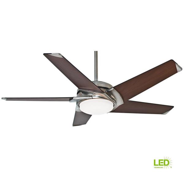 Stealth DC 54 in. Indoor Brushed Nickel LED Ceiling Fan with Remote