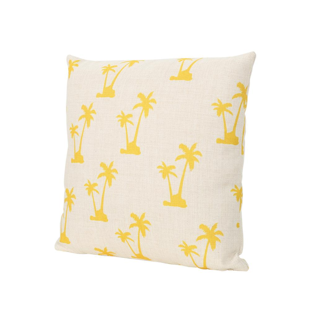 Noble House Lucille Palm Trees 18 In Square Outdoor Throw Pillow 53263 The Home Depot