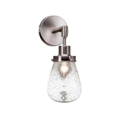 7.25 in. Brushed Nickel Sconce with 5 in. Clear Bubble Glass