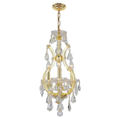 Maria Theresa Collection 4-Light Polished Gold Chandelier with Crystal Shade