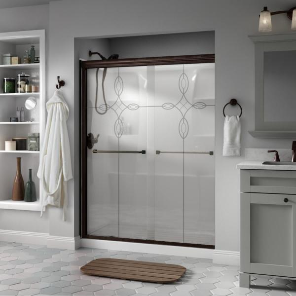 Everly 60 in. x 70 in. Semi-Frameless Traditional Sliding Shower Door in Bronze with Tranquility Glass