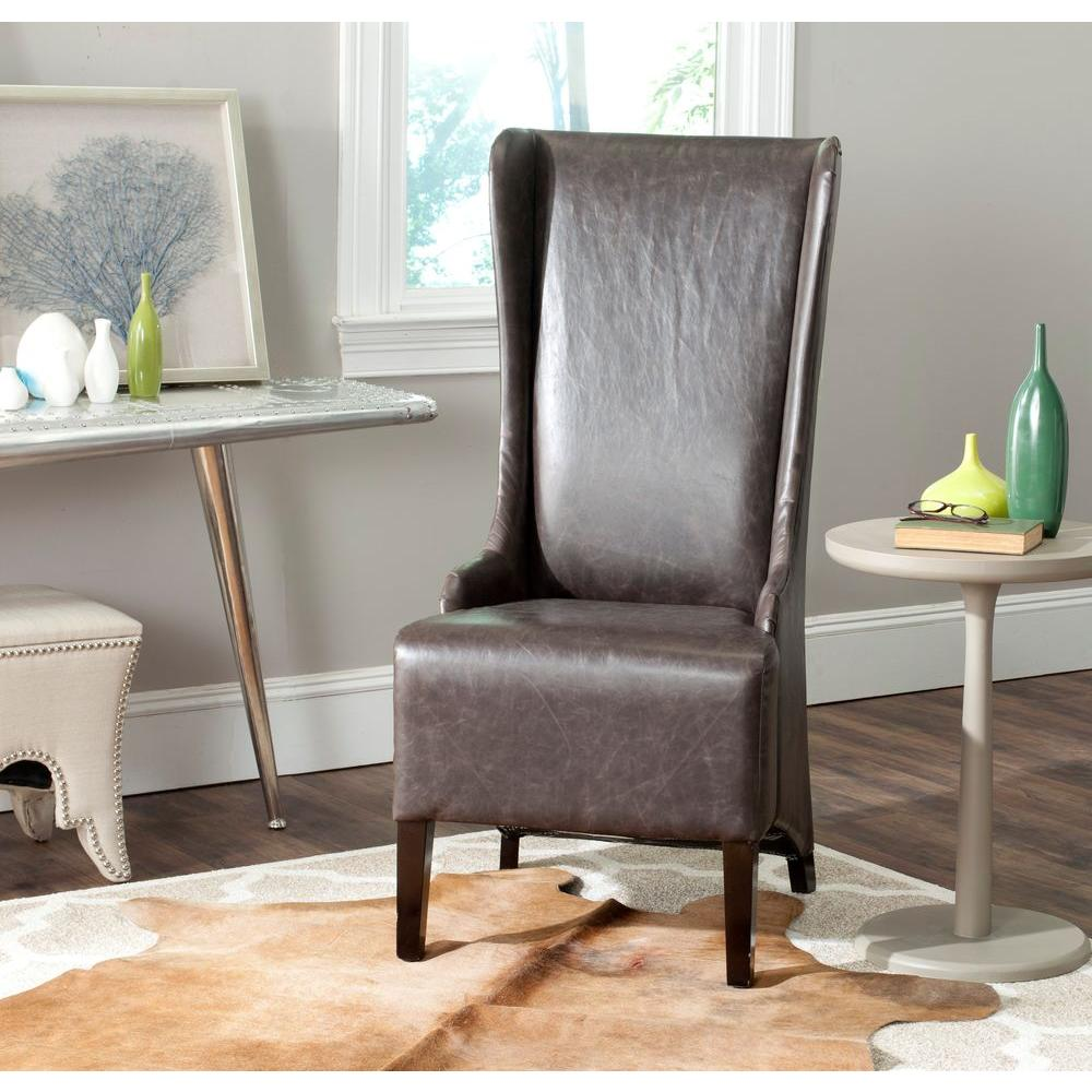 High Back Oak Leg Brown Leather Kitchen Dining Chairs X: Safavieh Bacall Antique Brown Bicast Leather Dining Chair