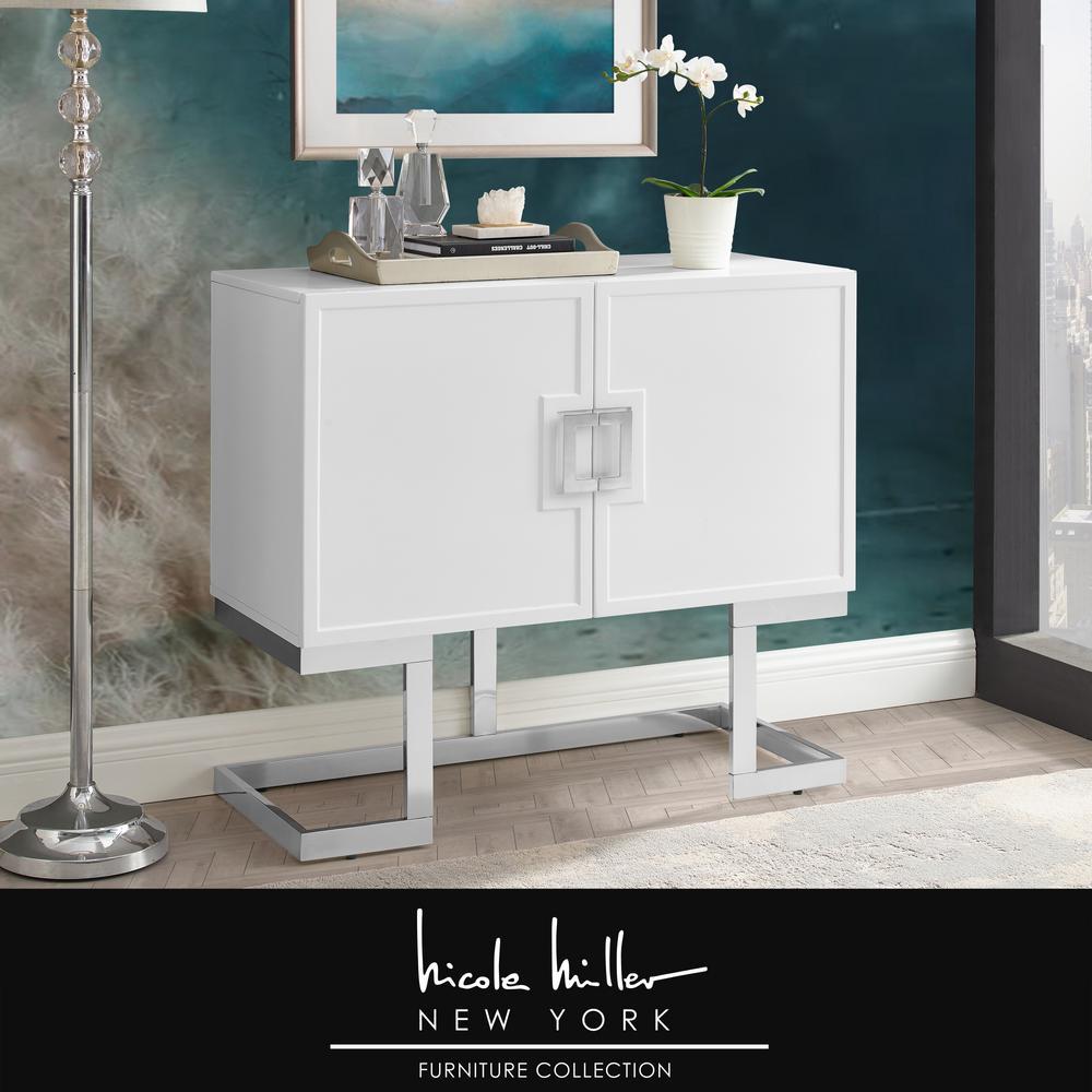 Nicole Miller Olina White Chrome Cabinet 2 Doors 2 Adjustable