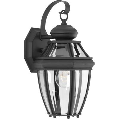 New Haven Collection 1-Light 14.9 in. Outdoor Black Wall Lantern Sconce