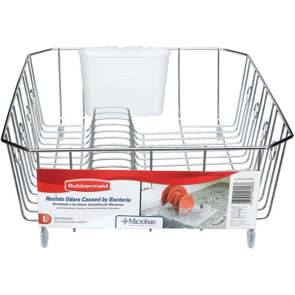 Rubbermaid Antimicrobial Large Chrome Dish Drainer