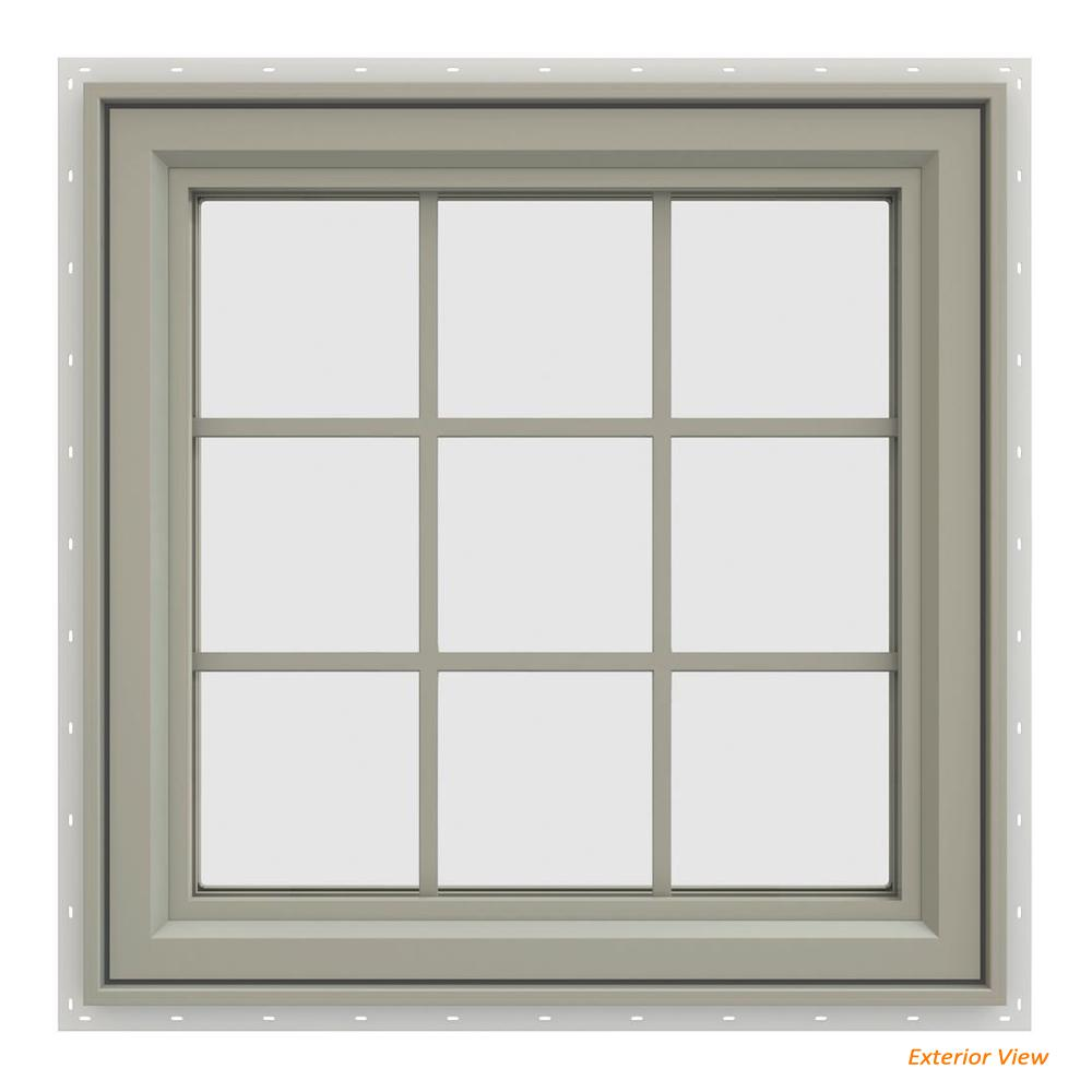 JELD-WEN 35.5 in. x 35.5 in. V-4500 Series Desert Sand Painted Vinyl Right-Handed Casement Window with Colonial Grids/Grilles
