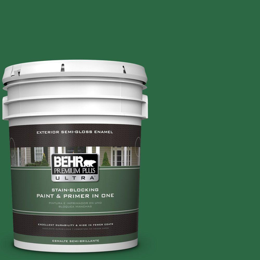 BEHR Premium Plus Ultra 5-gal. #S-H-460 Chopped Chive Semi-Gloss Enamel Exterior Paint