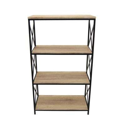 23 in. x 11.5 in. x 29 in. Brown Wood and Metal 4-Tier Book Shelf