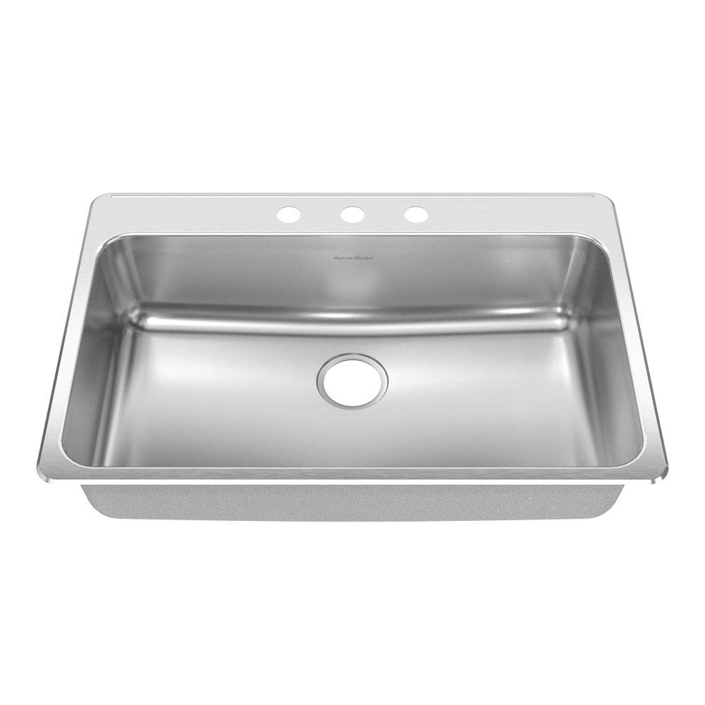 American Standard Prevoir Drop-In Brushed Stainless Steel 33.375x22x8 in. 3-Hole Single Bowl Kitchen Sink-DISCONTINUED