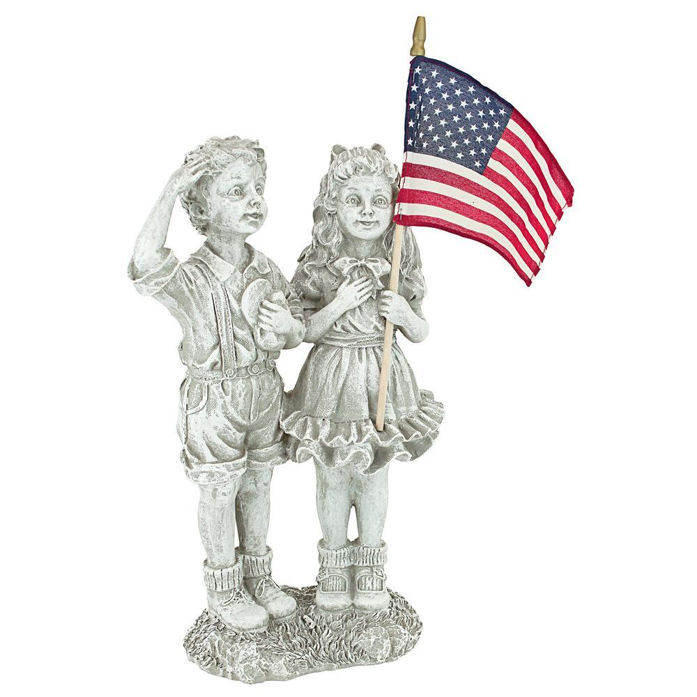 16 in. H Patriotic Flag Children Statue