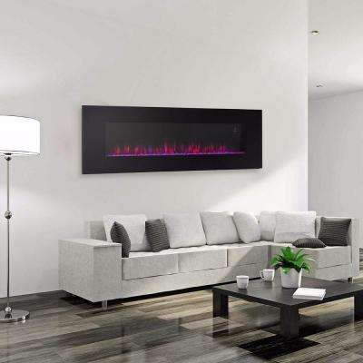 50 in. W Black Wall Mount Smokeless Electric Fireplace with 3 Changeable Flame Colors and Remote Control