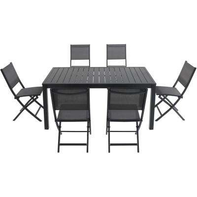 Nova 7-Piece Aluminum Outdoor Dining Set with 6 Folding Chairs in Gray