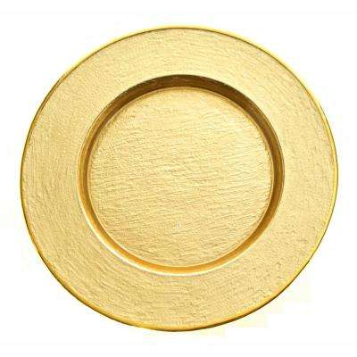 Glamour Gold 13 in. Handmade Glass Charger with Gold Rim