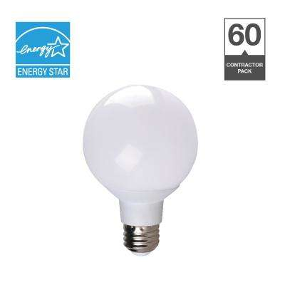 40-Watt Equivalent G25 Dimmable Contractor Pack Quick Install LED Light Bulb (60-Pack)