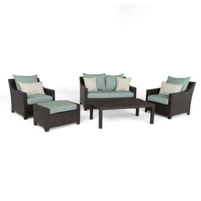 Deco 5-Piece Aluminum All-Weather Wicker Patio Love and Club Seating Set with Spa Blue Cushions