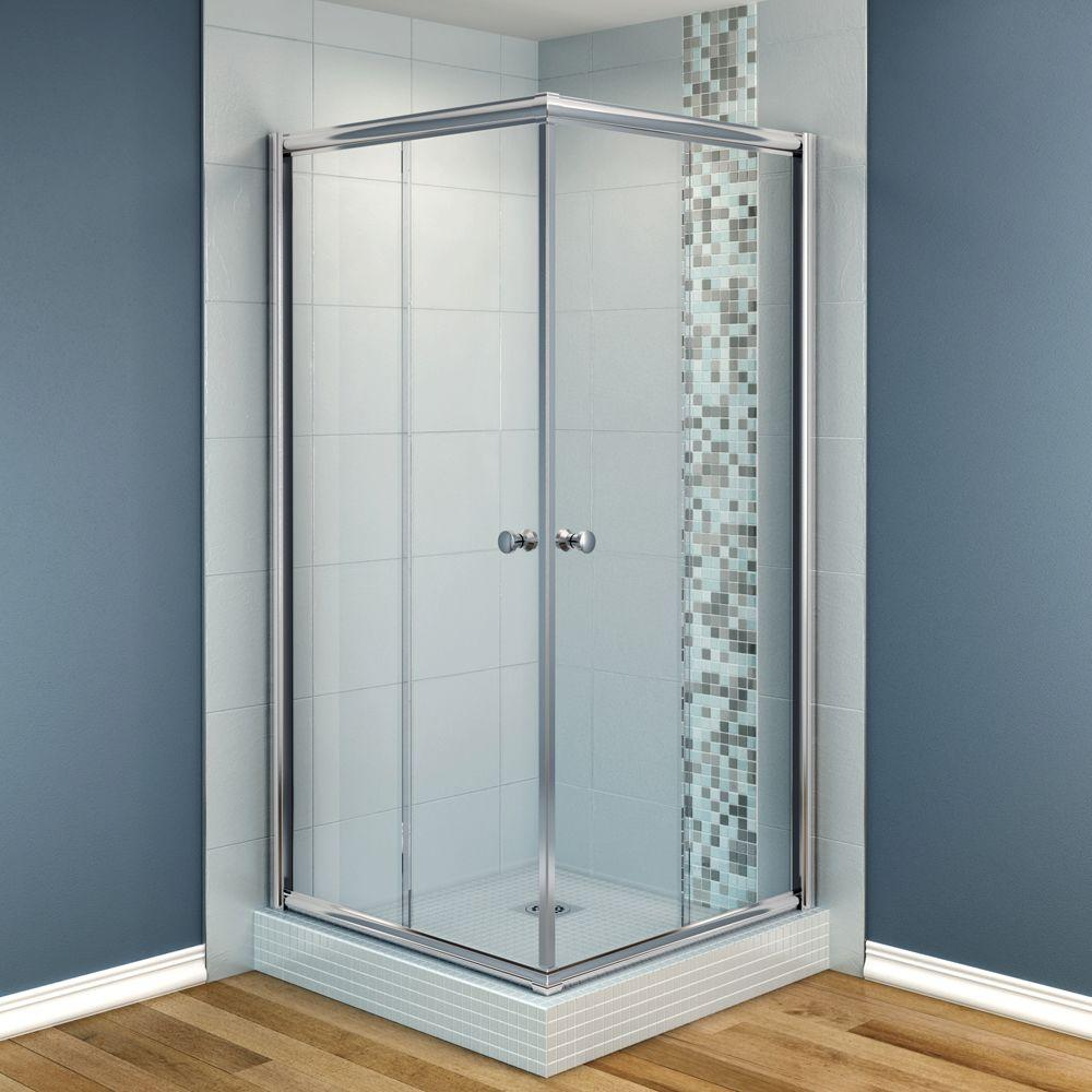 MAAX Centric 40 in. x 40 in. x 70 in. Frameless Corner Shower Door in Clear Glass and Chrome Finish-DISCONTINUED
