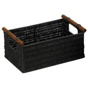 +2. Household Essentials Black Stained Paper Rope Basket ...  sc 1 st  The Home Depot & Household Essentials Black Stained Paper Rope Basket with Wooden ...