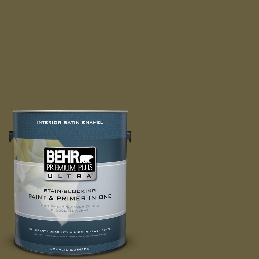BEHR Premium Plus Ultra 1-gal. #ICC-88 Classic Olive Satin Enamel Interior Paint