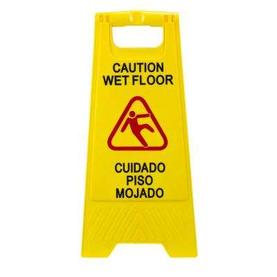 Plastic Multi-Lingual Yellow 25 in. x 12 in. Caution Wet Floor Sign 2-Sided