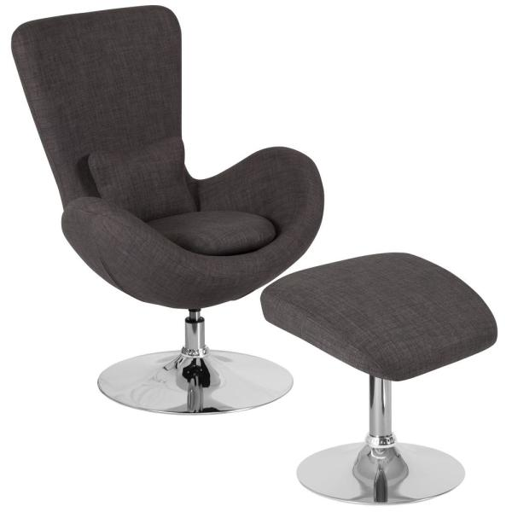 Carnegy Avenue Dark Gray Fabric Chair and Ottoman Set CGA-CH-232383-DA-HD