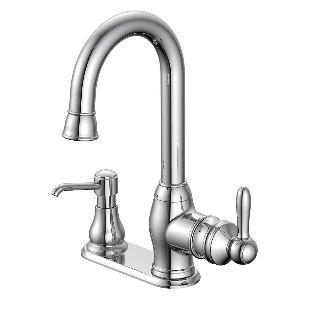 Glacier bay newbury single handle bar faucet in chrome for Faucet and soap dispenser placement