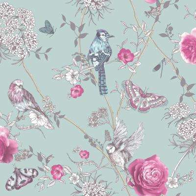 Paradise Garden Mint Green Wallpaper