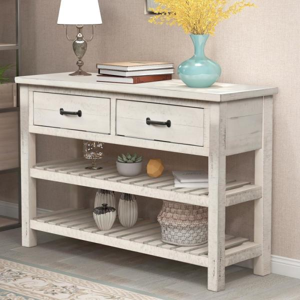 Harper & Bright Designs 45 In. White Standard Rectangle Wood Console Table With Drawers And 2-Shelves-WF187820AAK - The Home Depot