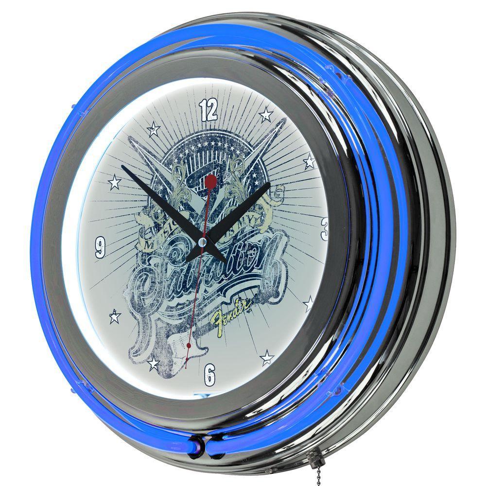 Trademark 14 in. Fender Salvation Double Ring Neon Wall Clock