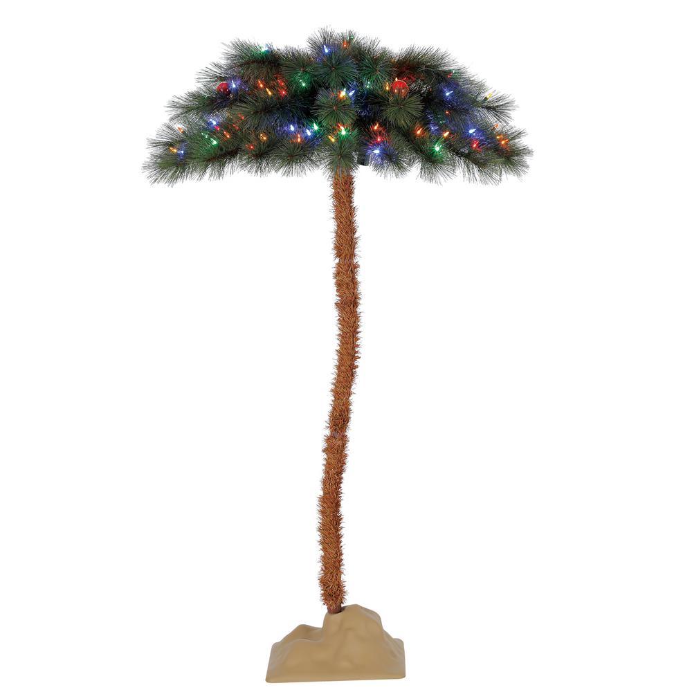 5 ft. Pre-Lit Fresno Palm Tree with 100 LED Multi-Color Lights