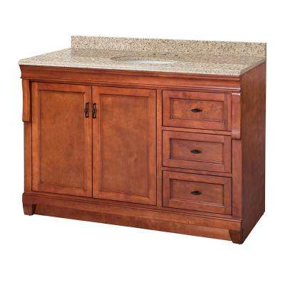 Naples 49 in. W x 22 in. D Vanity in Warm Cinnamon with Granite Vanity Top in Beige with White Sink