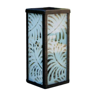 Frosted Palm Leaf Square Solar Lantern