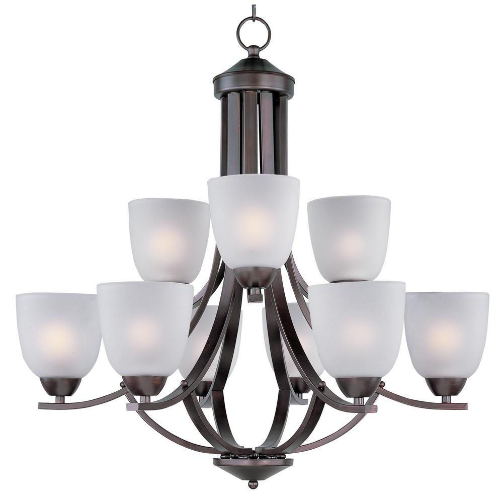 Axis 9-Light Oil Rubbed Bronze Chandelier with Frosted Shade