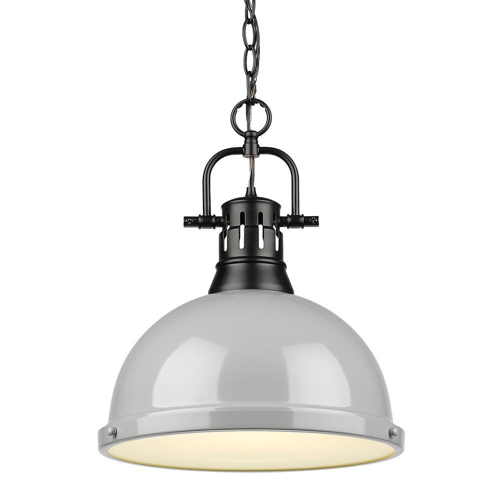 Golden Lighting Duncan 1 Light Black Pendant And Chain With Gray Shade