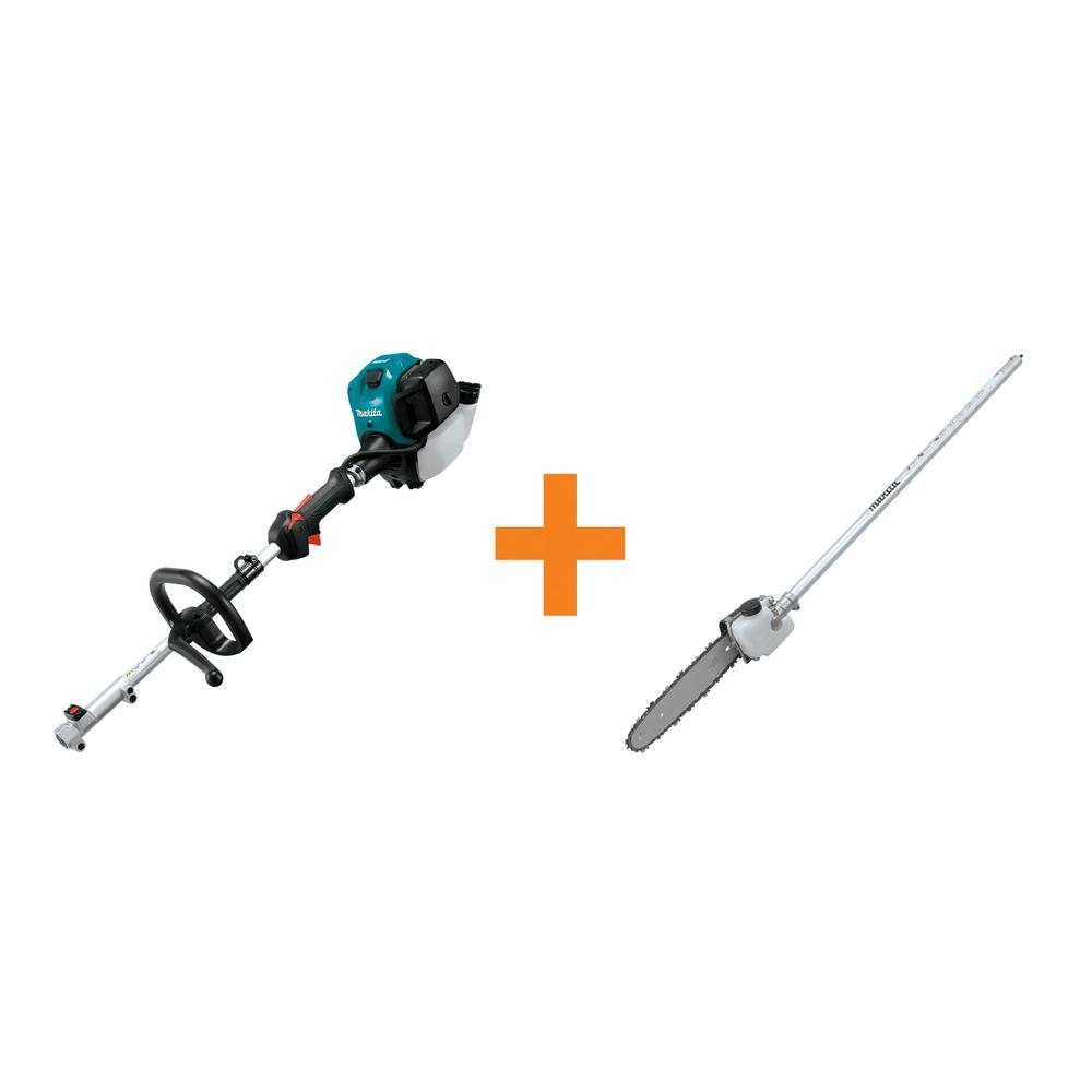 Makita 25.4 cc MM4 4-Stroke Couple Shaft Power Head and 10 in. Pole Saw Couple Shaft Attachment