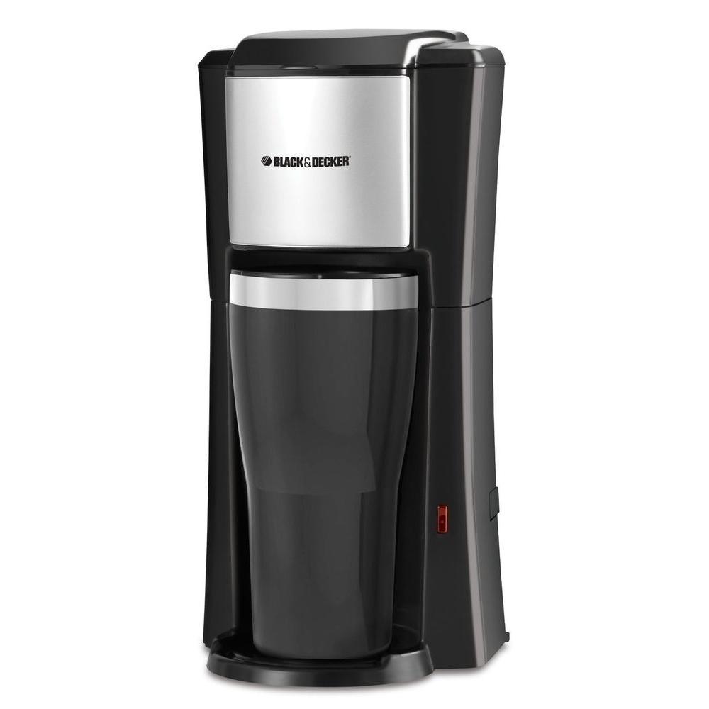 Black Single Serve Drip Coffee Maker with Travel Mug
