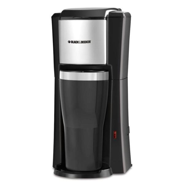 BLACK+DECKER Black Single Serve Drip Coffee Maker with Travel Mug CM618