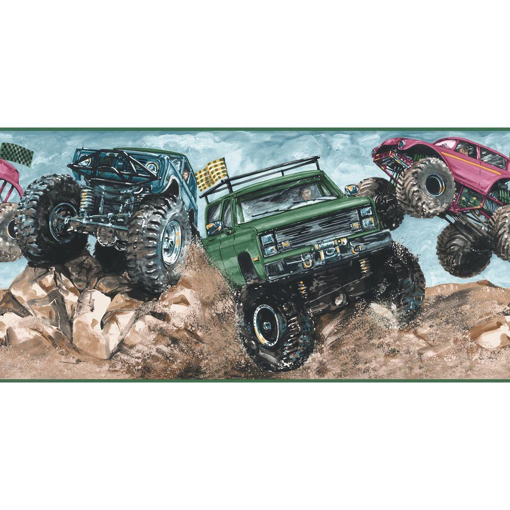 The Wallpaper Company 10.25 in. x 15 ft. Jewel Tone Monster Truck Border
