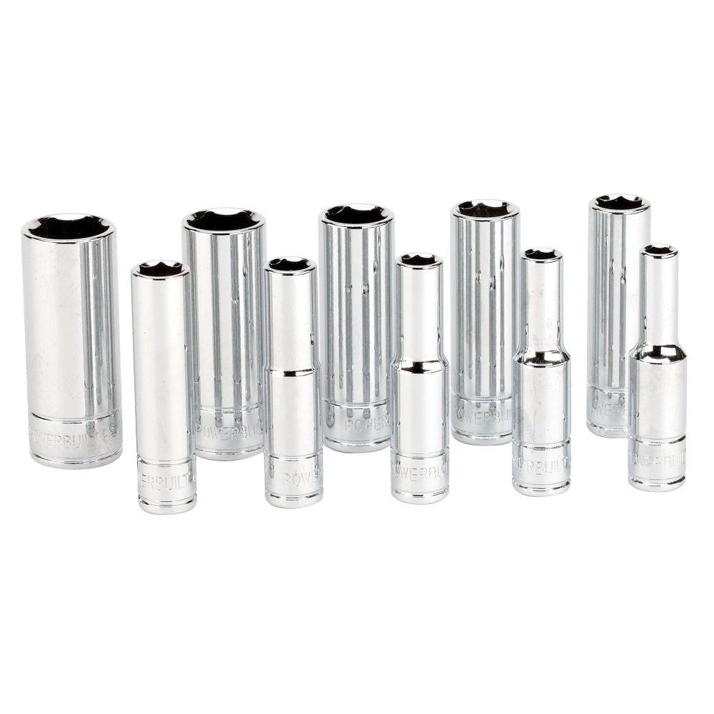 1/4 in. Drive SAE Deep Socket Set (10-Piece)