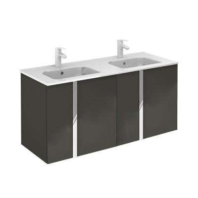 Onix 48 in. W x 18 in. D Vanity with Doors in Anthracite with Ceramic Vanity Top in White