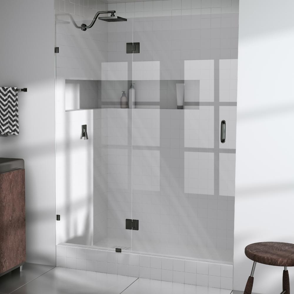 49.25 in. x 78 in. Frameless Glass Hinged Shower Door in Oil Rubbed Bronze