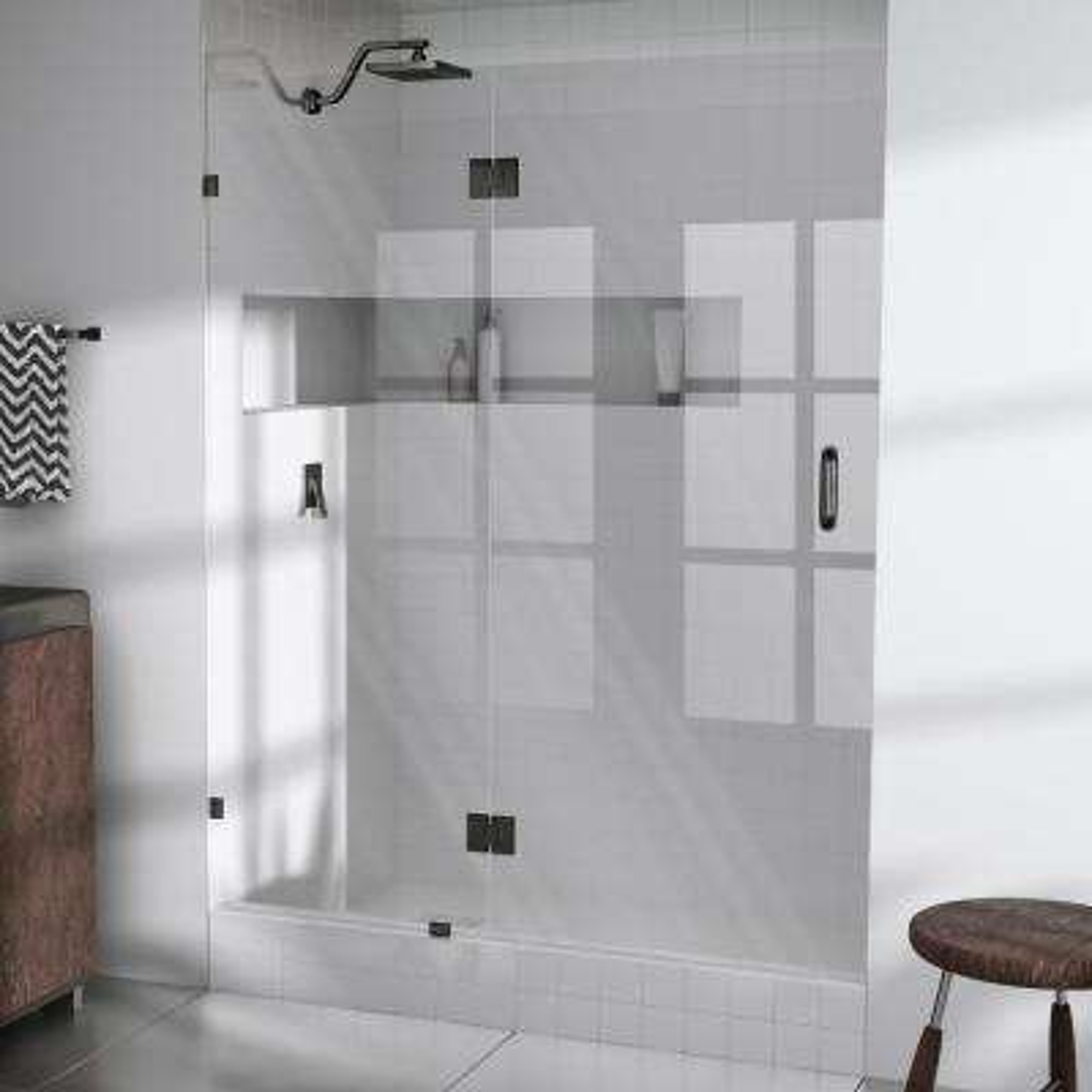 57 in. x 78 in. Frameless Glass Hinged Shower Door in Oil Rubbed Bronze