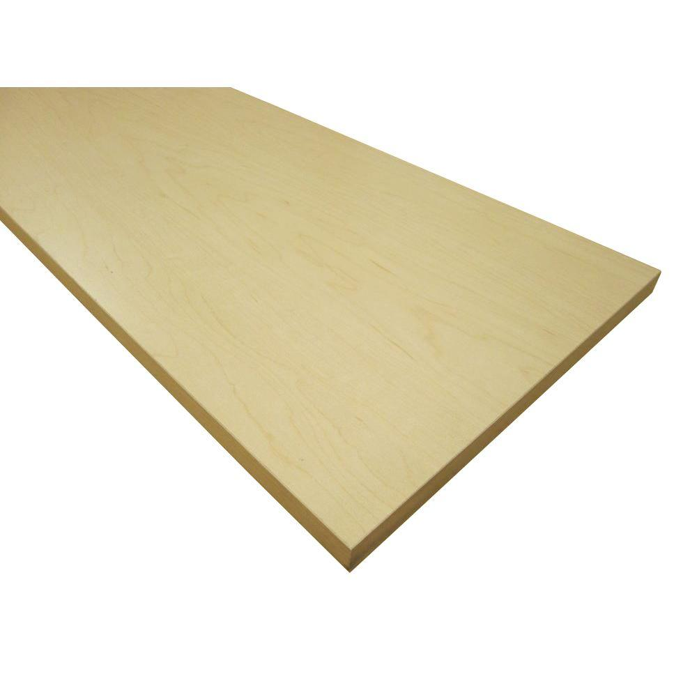 null 3/4 in. x 16 in. x 97 in. Hardrock Maple Thermally-Fused Melamine Shelf