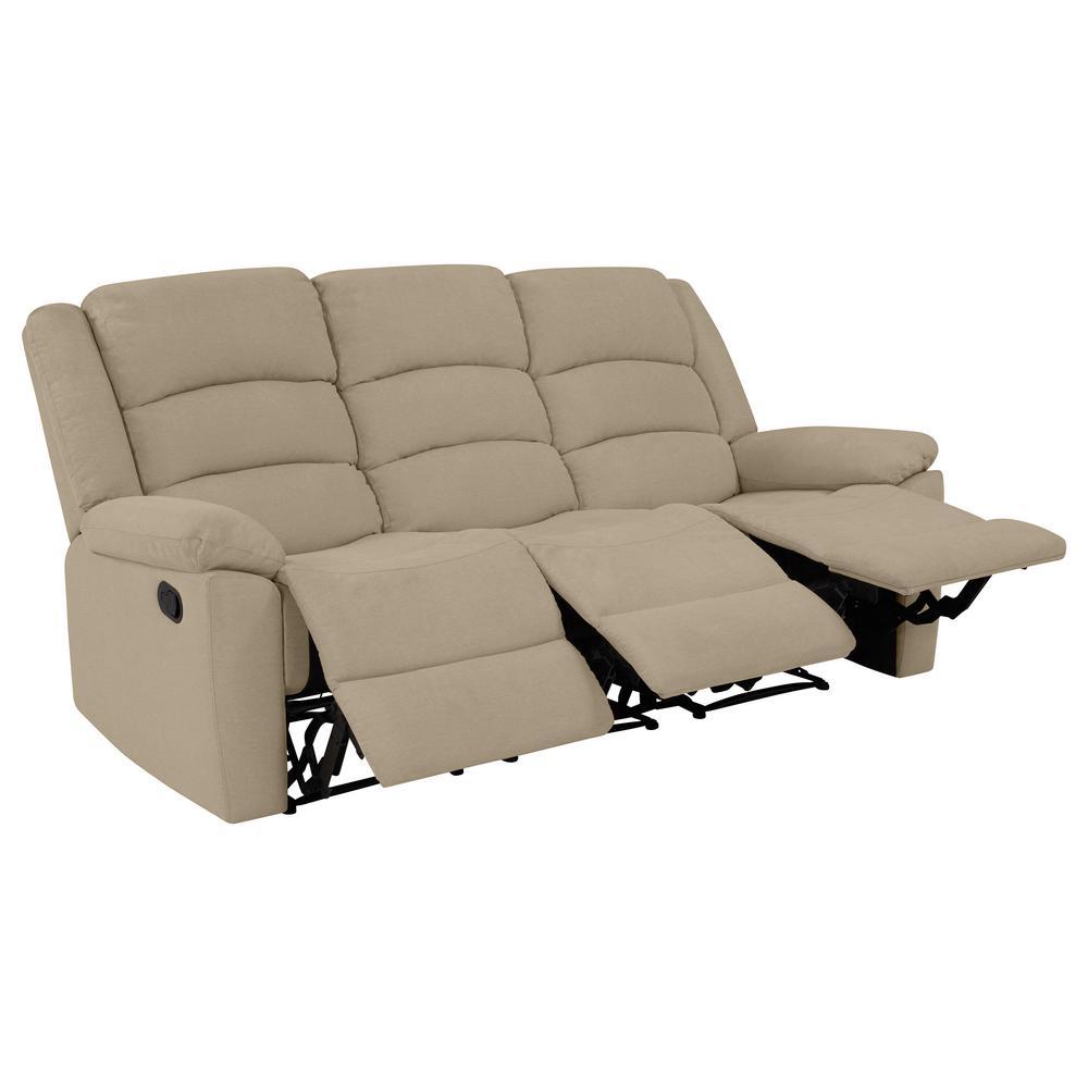 3-Seat Wall Hugger Recliner Sofa in Barley Tan Plush Low-Pile Velvet