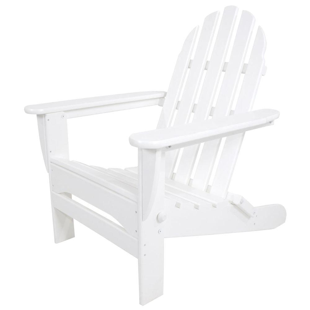 Polywood Classic White Folding Plastic Adirondack Chair Ad5030wh The Home Depot