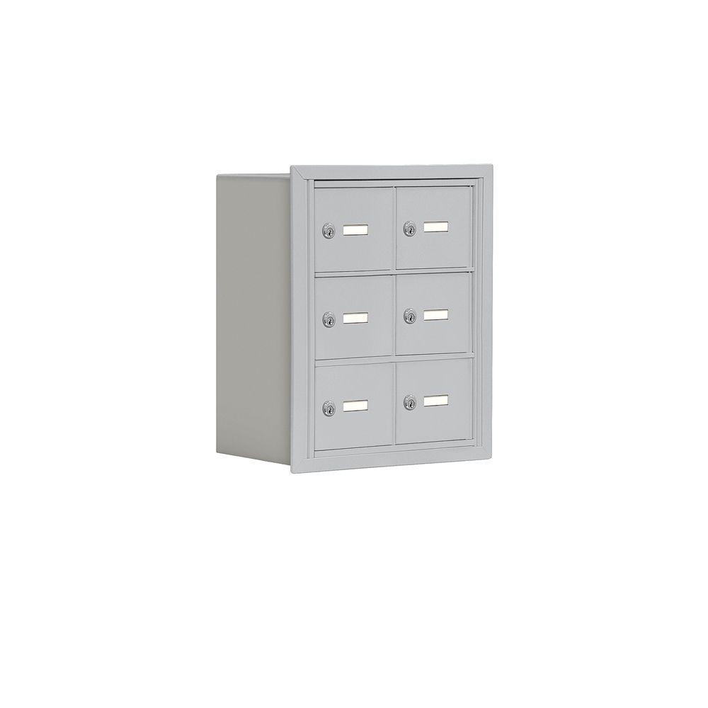Salsbury Industries 19000 Series 17.5 in. W x 20 in. H x 8.75 in. D 6 A Doors R-Mount Keyed Locks Cell Phone Locker in Aluminum