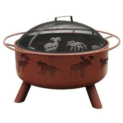 Big Sky SB Wildlife 29.5 in. x 29.5 in. x 20.75 in. Round Steel Wood Burning Firepit